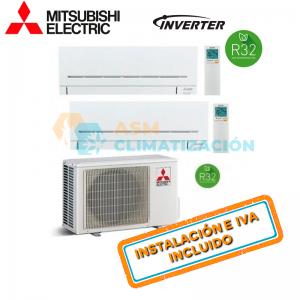 Aire Acondicionado Multisplit 2X1 MITSUBISHI MXZ 2F42VF MSZ AP20VGK MSZ AP35VGK