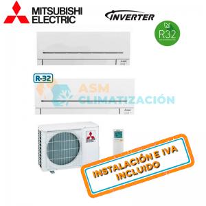 Aire Acondicionado Multisplit 2X1 MITSUBISHI MXZ 2F42VF MSZ AP25VGK X2