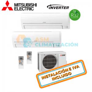 Aire Acondicionado Multisplit 2X1 MITSUBISHI MXZ 2HA40VF MSZ HR25VF X2