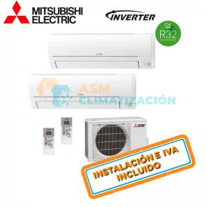 Aire Acondicionado Multisplit 2X1 MITSUBISHI MXZ 2HA50VF MSZ HR25VF MSZ HR35VF