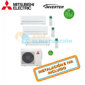 Aire Acondicionado Multisplit 3X1 MITSUBISHI MXZ 3F54VF MSZ AP20VGK X3