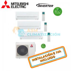 Aire Acondicionado Multisplit 3X1 MITSUBISHI MXZ 3F54VF MSZ AP25VGK X2 MSZ AP35VGK