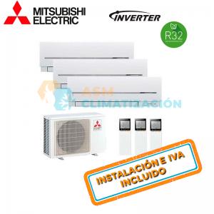 Aire Acondicionado Multisplit 3X1 MITSUBISHI MXZ 3F54VF MSZ AP25VGK X3