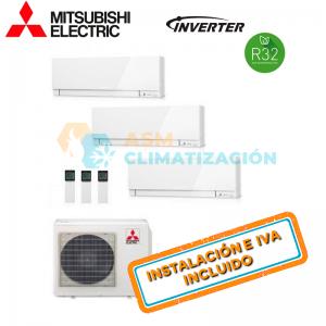 Aire Acondicionado Multisplit 3X1 MITSUBISHI MXZ 3F68VF MSZ AP25VGK x2 MSZ AP35VGK