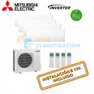 Aire Acondicionado Multisplit 4X1 MITSUBISHI MXZ 4F80VF MSZ AP20VGK X3 MSZ AP25VGK