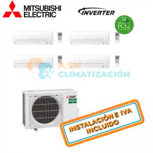 Aire Acondicionado Multisplit 4X1 MITSUBISHI MXZ 4F72VF MSZ AP20VGK X3 MSZ AP25VGK