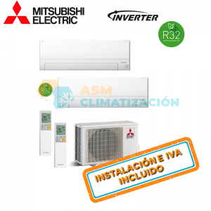 Aire Acondicionado Multisplit 2X1 MITSUBISHI MXZ 2F42VF MSZ AP20VGK x2